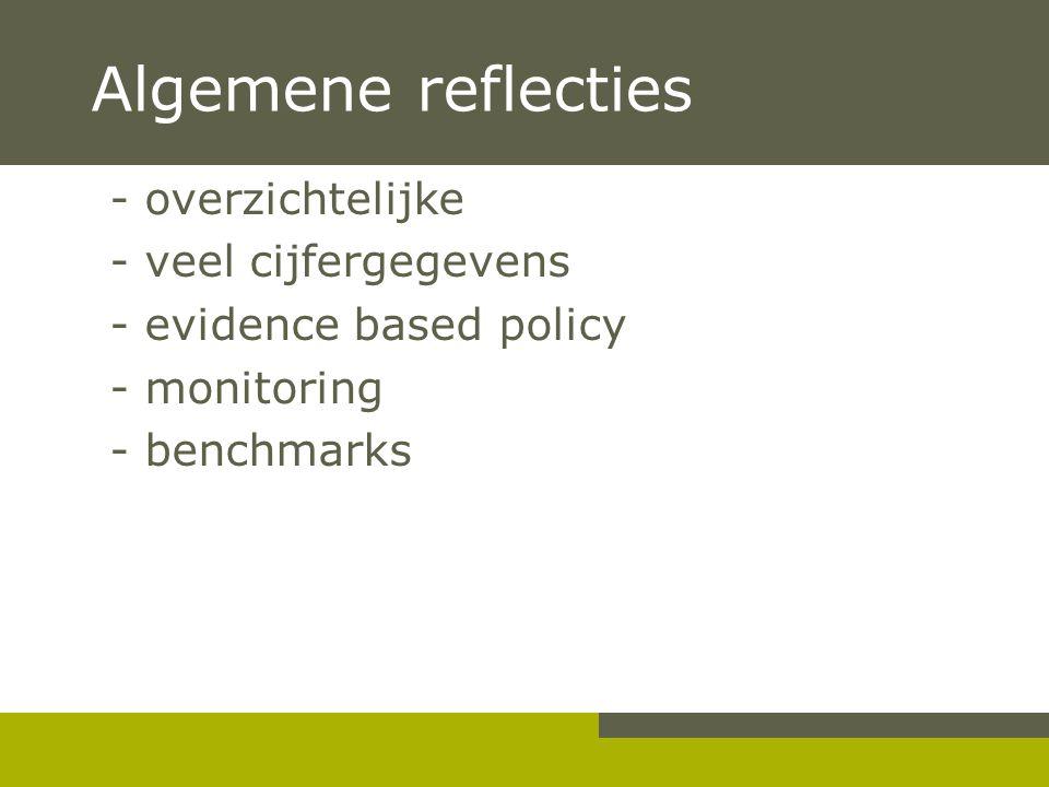Algemene reflecties - overzichtelijke - veel cijfergegevens - evidence based policy - monitoring - benchmarks