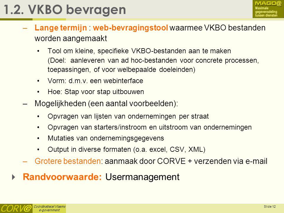 Coördinatiecel Vlaams e-government Slide 12 1.2. VKBO bevragen –Lange termijn : web-bevragingstool waarmee VKBO bestanden worden aangemaakt •Tool om k