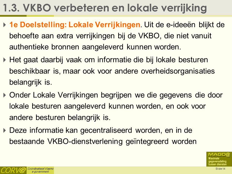 Coördinatiecel Vlaams e-government Slide 14 1.3. VKBO verbeteren en lokale verrijking  1e Doelstelling: Lokale Verrijkingen. Uit de e-ideeën blijkt d