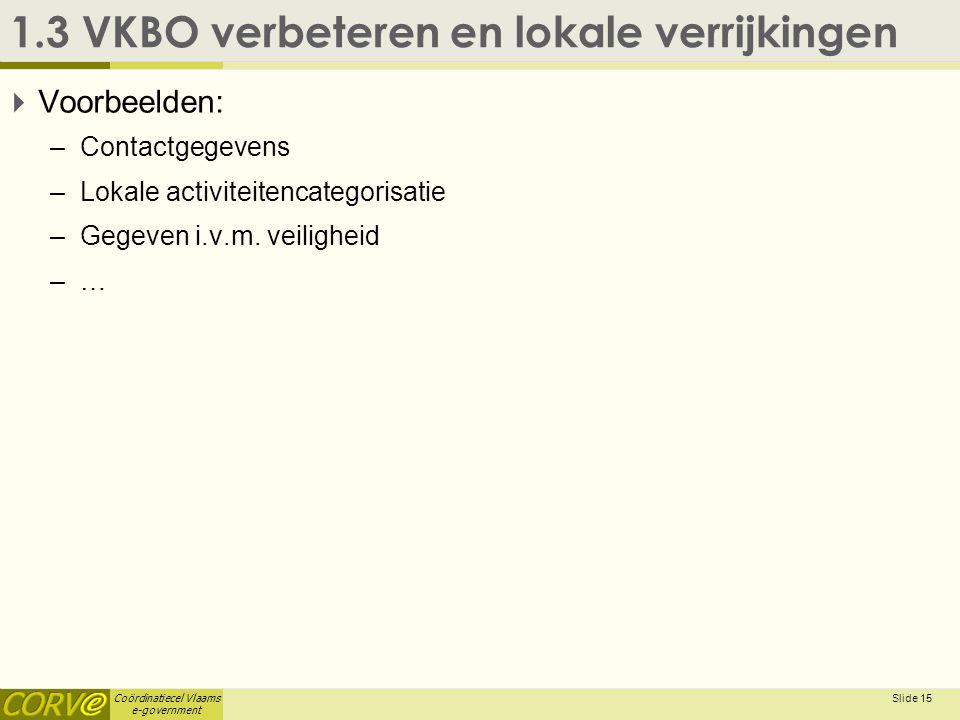 Coördinatiecel Vlaams e-government Slide 15 1.3 VKBO verbeteren en lokale verrijkingen  Voorbeelden: –Contactgegevens –Lokale activiteitencategorisat