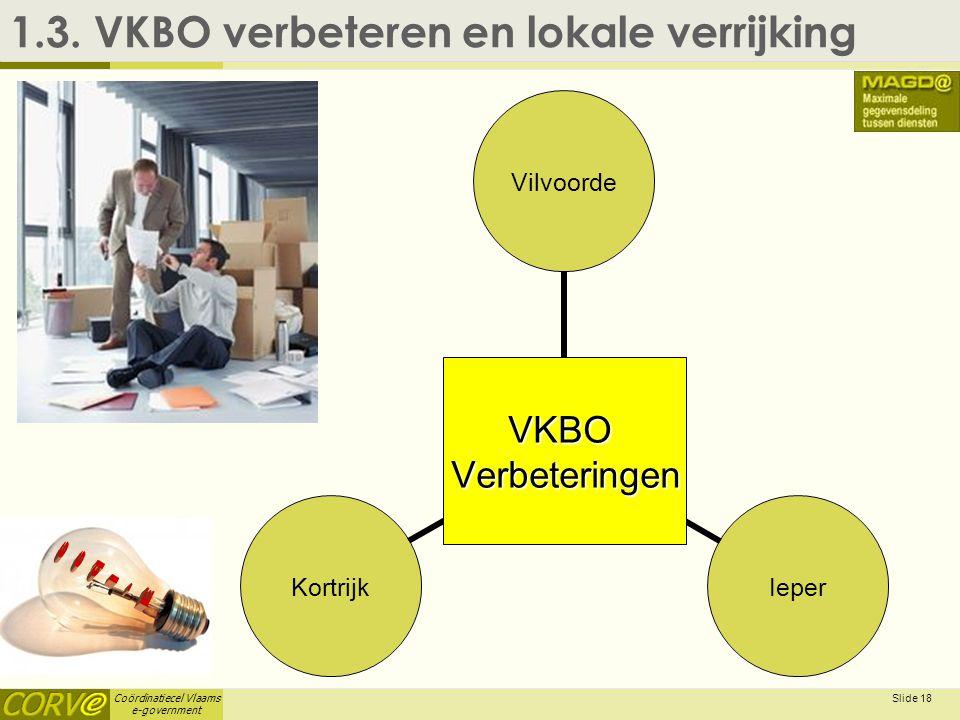 Coördinatiecel Vlaams e-government Slide 18 1.3. VKBO verbeteren en lokale verrijkingVKBOVerbeteringen