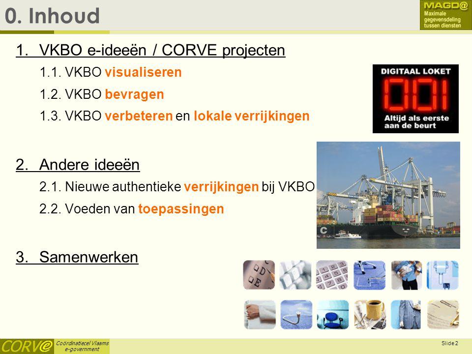 Coördinatiecel Vlaams e-government Slide 2 0. Inhoud 1. VKBO e-ideeën / CORVE projecten 1.1. VKBO visualiseren 1.2. VKBO bevragen 1.3. VKBO verbeteren