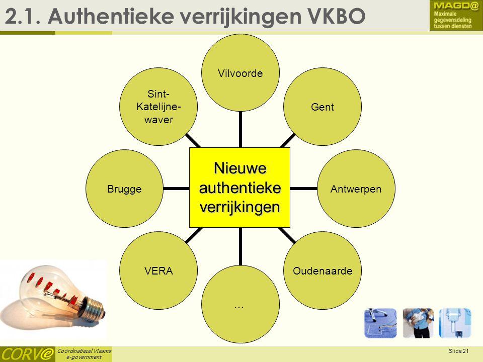 Coördinatiecel Vlaams e-government Slide 21 2.1. Authentieke verrijkingen VKBO VilvoordeGentAntwerpenOudenaarde…VERABrugge Sint- Katelijne- waver Nieu