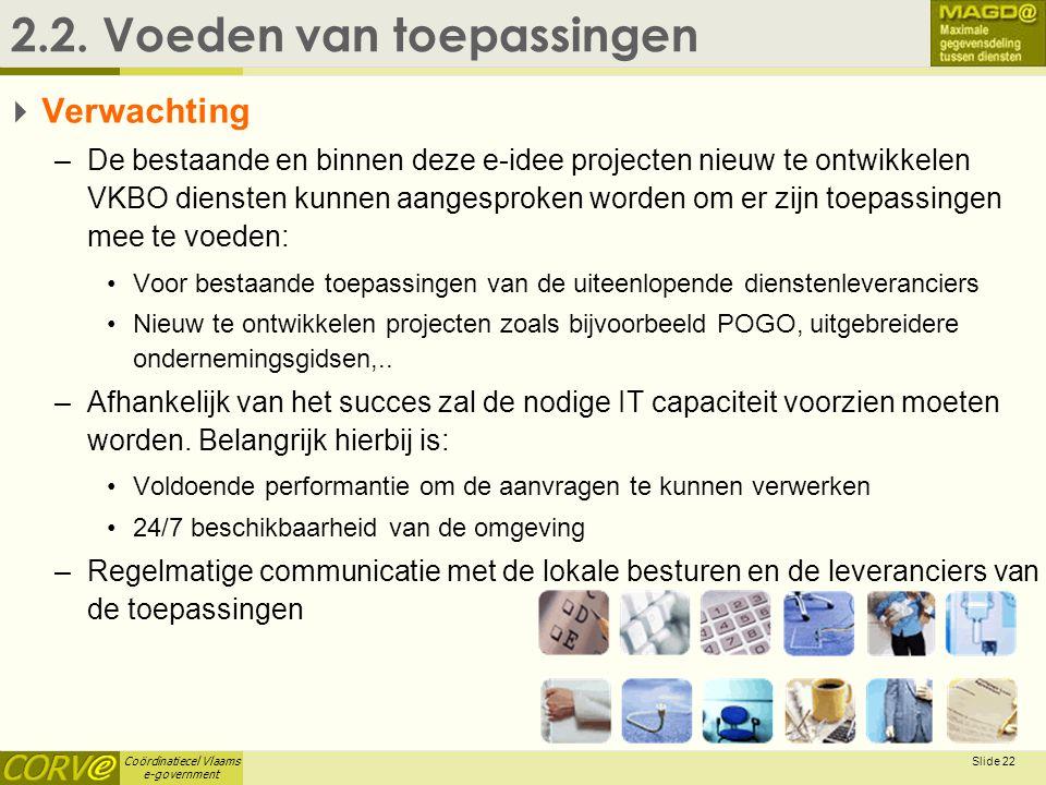 Coördinatiecel Vlaams e-government Slide 22 2.2. Voeden van toepassingen  Verwachting –De bestaande en binnen deze e-idee projecten nieuw te ontwikke