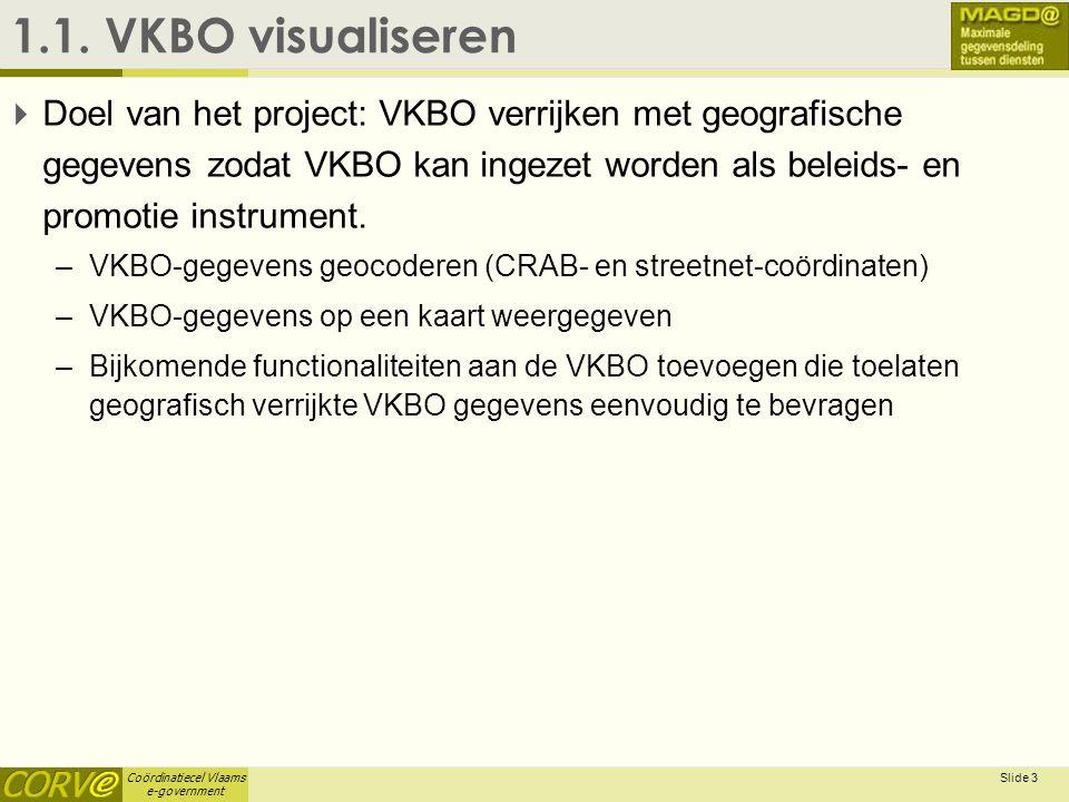 Coördinatiecel Vlaams e-government Slide 3 1.1. VKBO visualiseren  Doel van het project: VKBO verrijken met geografische gegevens zodat VKBO kan inge