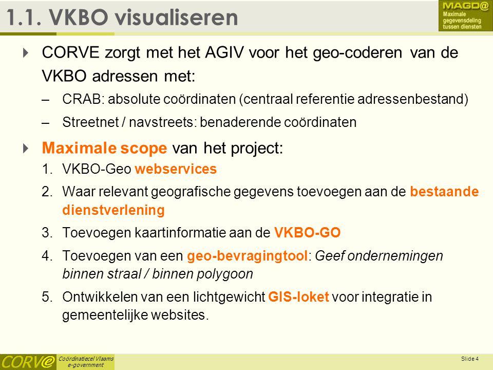 Coördinatiecel Vlaams e-government Slide 4 1.1. VKBO visualiseren  CORVE zorgt met het AGIV voor het geo-coderen van de VKBO adressen met: –CRAB: abs