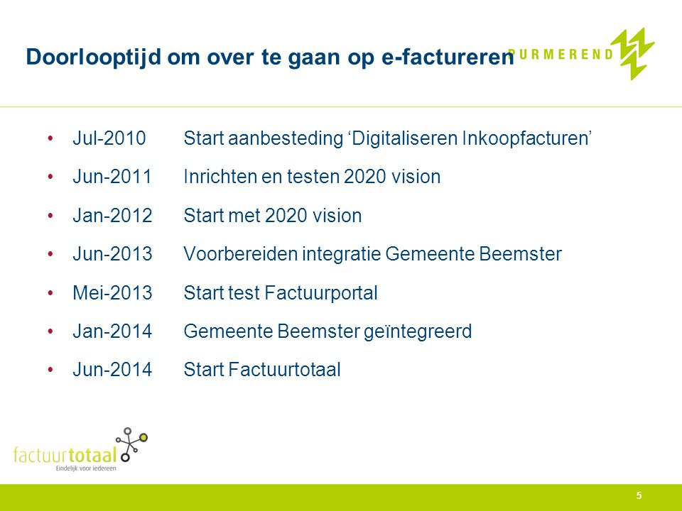 •Jul-2010Start aanbesteding 'Digitaliseren Inkoopfacturen' •Jun-2011Inrichten en testen 2020 vision •Jan-2012Start met 2020 vision •Jun-2013Voorbereid
