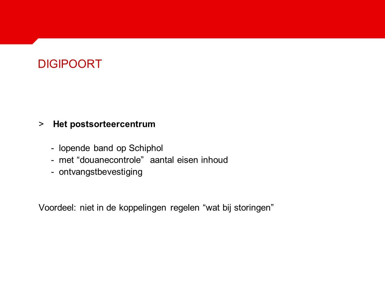 """DIGIPOORT >Het postsorteercentrum - lopende band op Schiphol - met """"douanecontrole"""" aantal eisen inhoud - ontvangstbevestiging Voordeel: niet in de ko"""