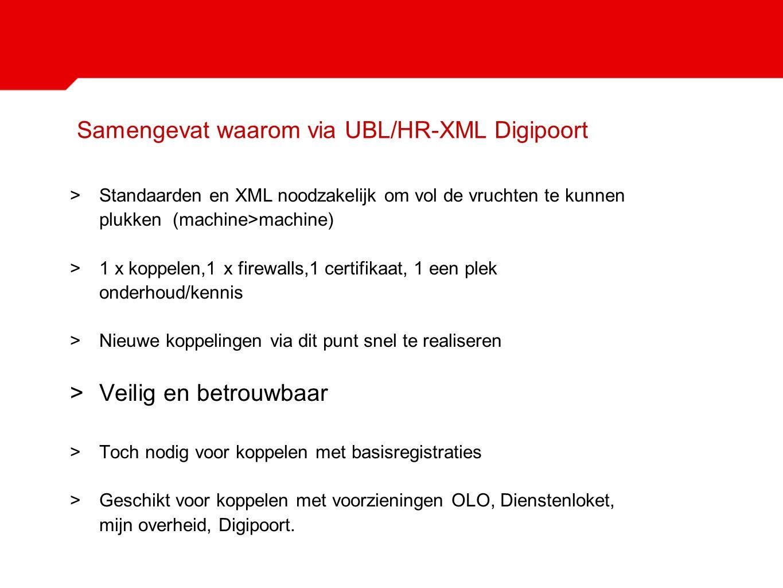 Samengevat waarom via UBL/HR-XML Digipoort >Standaarden en XML noodzakelijk om vol de vruchten te kunnen plukken (machine>machine) >1 x koppelen,1 x f