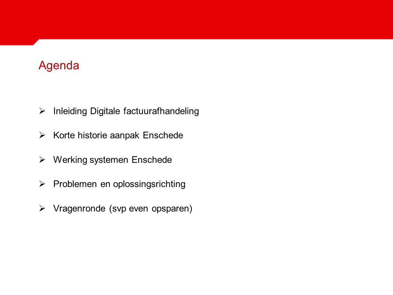 Agenda  Inleiding Digitale factuurafhandeling  Korte historie aanpak Enschede  Werking systemen Enschede  Problemen en oplossingsrichting  Vragen