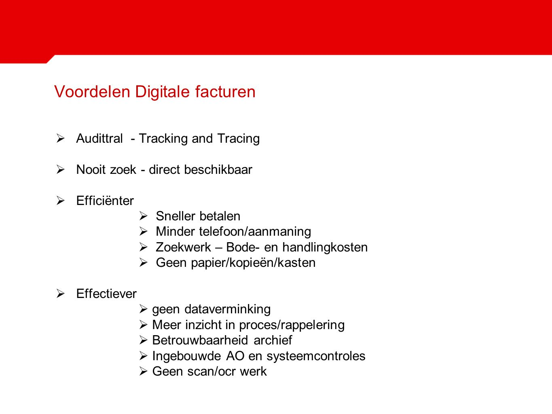 Voordelen Digitale facturen  Audittral - Tracking and Tracing  Nooit zoek - direct beschikbaar  Efficiënter  Sneller betalen  Minder telefoon/aan