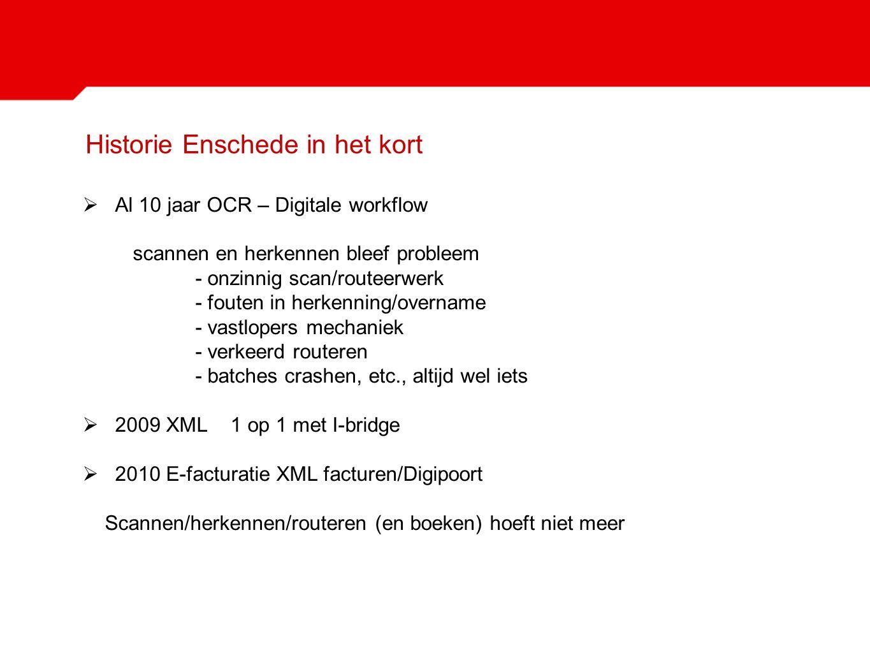 Historie Enschede in het kort  Al 10 jaar OCR – Digitale workflow scannen en herkennen bleef probleem - onzinnig scan/routeerwerk - fouten in herkenn