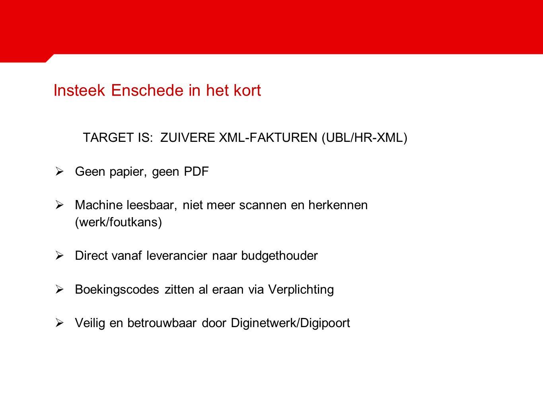 Insteek Enschede in het kort TARGET IS: ZUIVERE XML-FAKTUREN (UBL/HR-XML)  Geen papier, geen PDF  Machine leesbaar, niet meer scannen en herkennen (