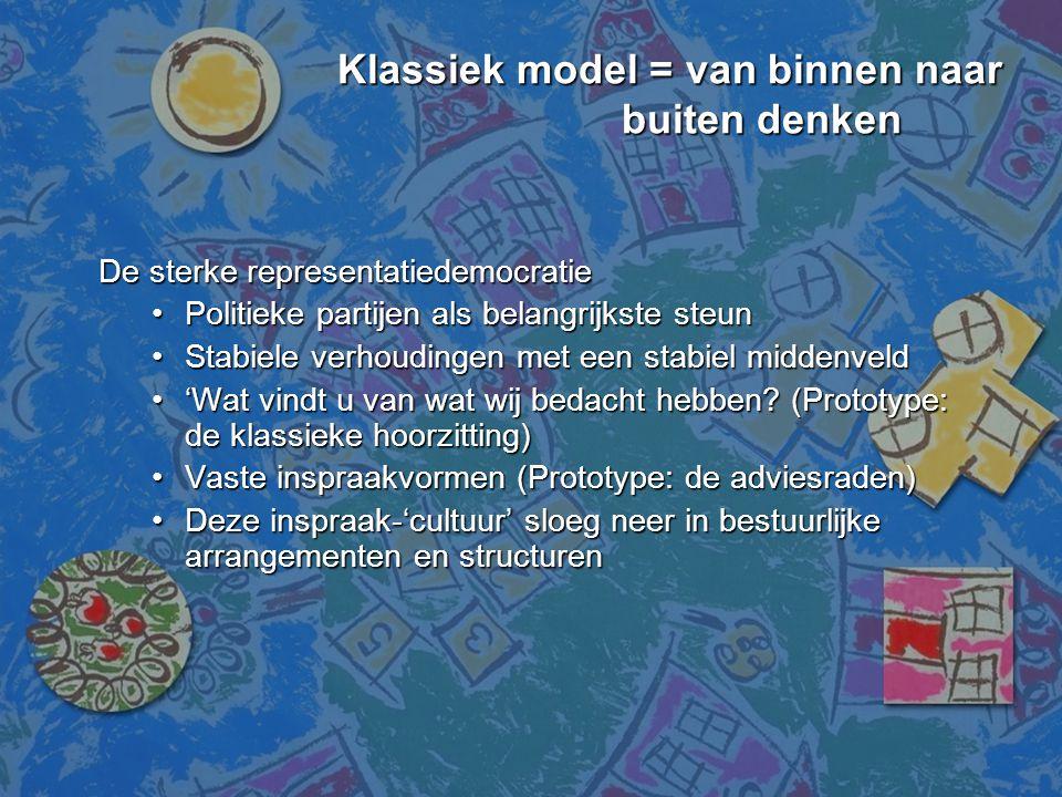 Klassiek model = van binnen naar buiten denken Klassiek model = van binnen naar buiten denken De sterke representatiedemocratie •Politieke partijen al