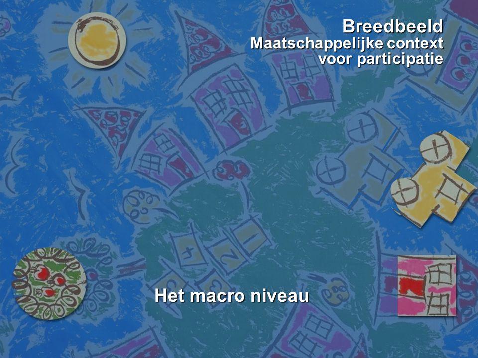 Breedbeeld Maatschappelijke context voor participatie Het macro niveau Het macro niveau