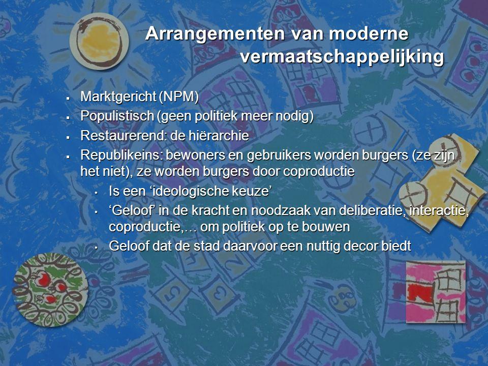 Arrangementen van moderne vermaatschappelijking  Marktgericht (NPM)  Populistisch (geen politiek meer nodig)  Restaurerend: de hiërarchie  Republi