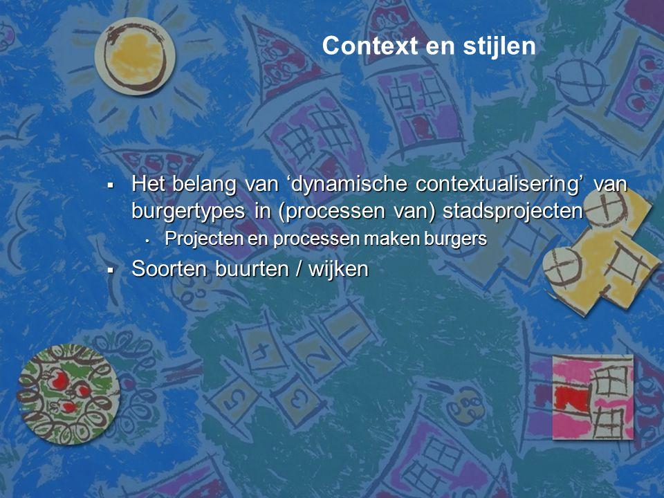  Het belang van 'dynamische contextualisering' van burgertypes in (processen van) stadsprojecten • Projecten en processen maken burgers  Soorten buu