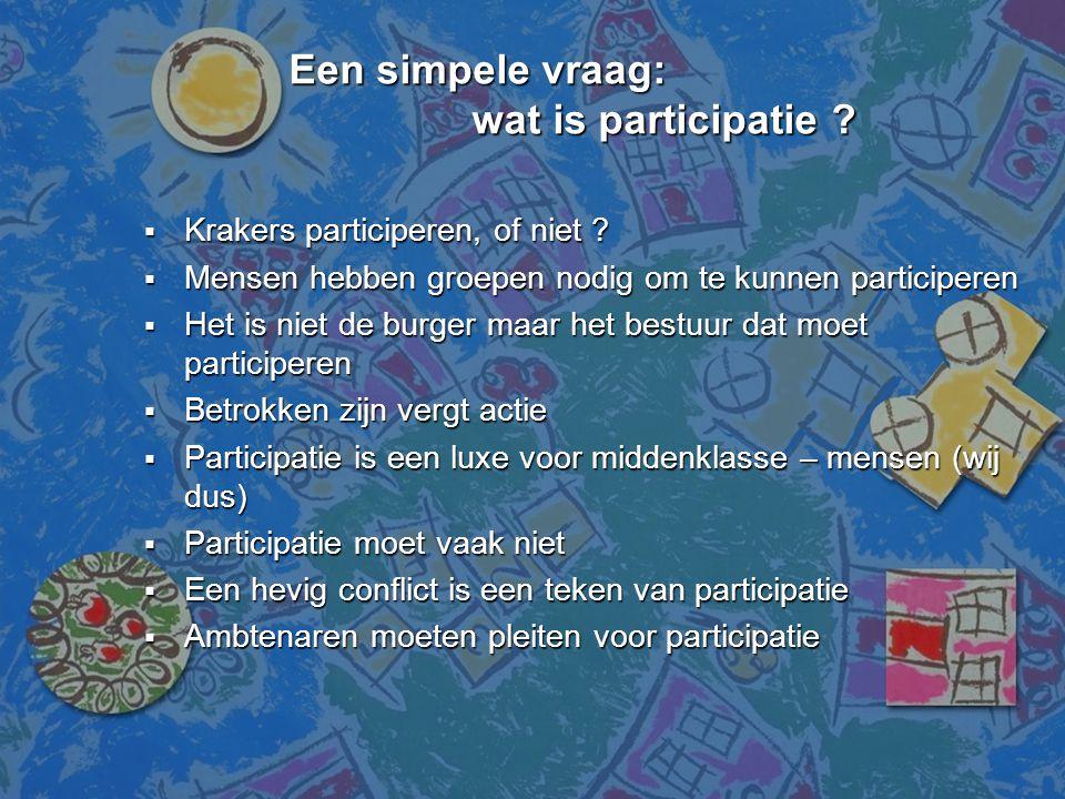 Een simpele vraag: wat is participatie ? Een simpele vraag: wat is participatie ?  Krakers participeren, of niet ?  Mensen hebben groepen nodig om t