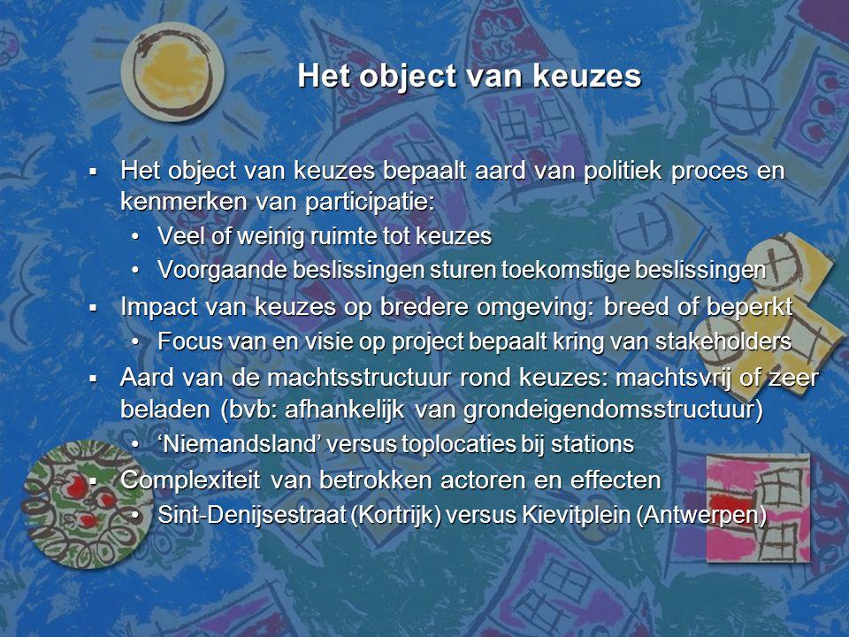 Het object van keuzes Het object van keuzes  Het object van keuzes bepaalt aard van politiek proces en kenmerken van participatie: •Veel of weinig ru
