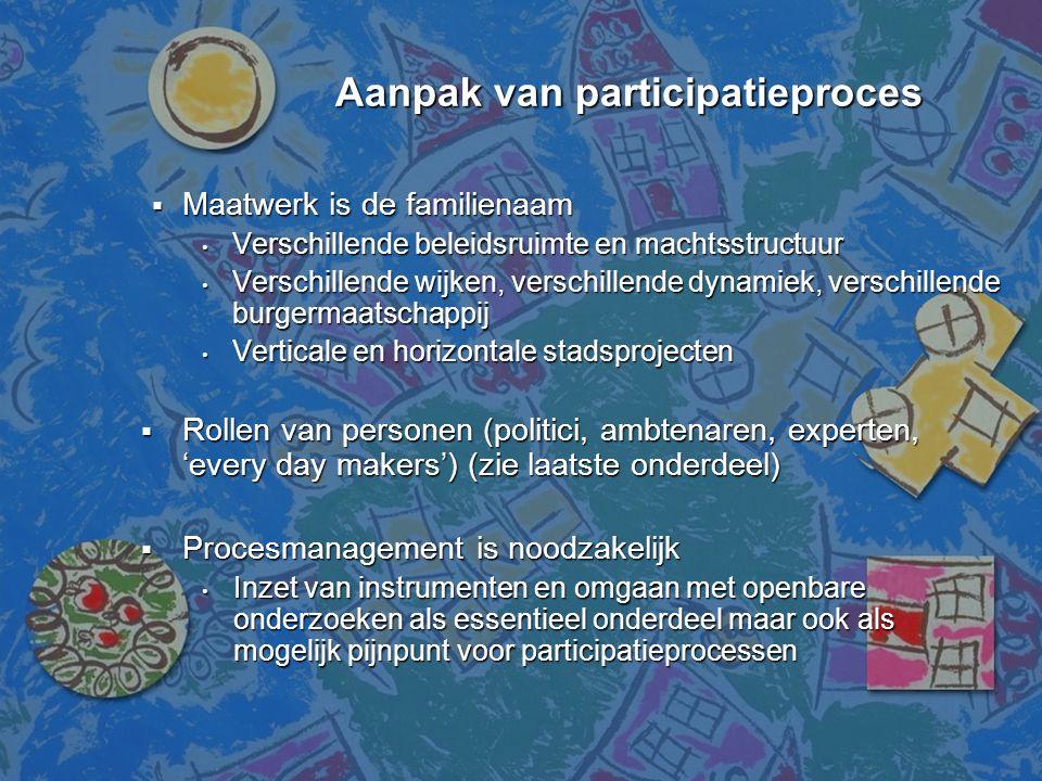 Aanpak van participatieproces Aanpak van participatieproces  Maatwerk is de familienaam • Verschillende beleidsruimte en machtsstructuur • Verschille