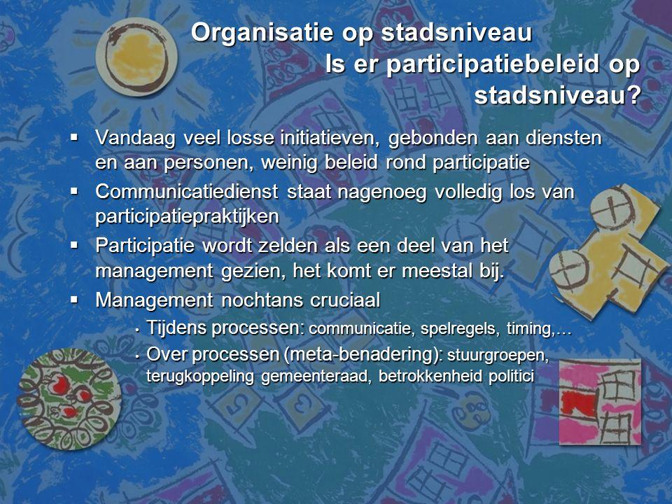 Organisatie op stadsniveau Is er participatiebeleid op stadsniveau? Organisatie op stadsniveau Is er participatiebeleid op stadsniveau?  Vandaag veel