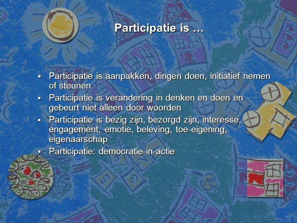 Participatie is …  Participatie is aanpakken, dingen doen, initiatief nemen of steunen  Participatie is verandering in denken en doen en gebeurt nie