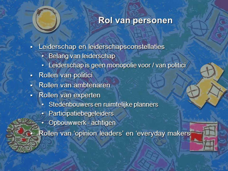 Rol van personen Rol van personen  Leiderschap en leiderschapsconstellaties •Belang van leiderschap •Leiderschap is geen monopolie voor / van politic