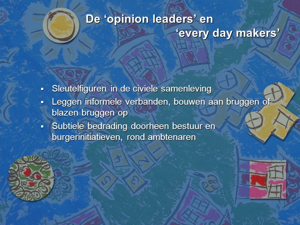 De 'opinion leaders' en 'every day makers' De 'opinion leaders' en 'every day makers'  Sleutelfiguren in de civiele samenleving  Leggen informele ve