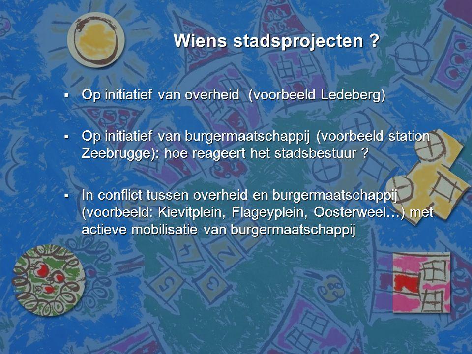Wiens stadsprojecten ? Wiens stadsprojecten ?  Op initiatief van overheid (voorbeeld Ledeberg)  Op initiatief van burgermaatschappij (voorbeeld stat
