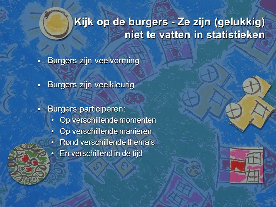 Kijk op de burgers - Ze zijn (gelukkig) niet te vatten in statistieken  Burgers zijn veelvorming  Burgers zijn veelkleurig  Burgers participeren: •