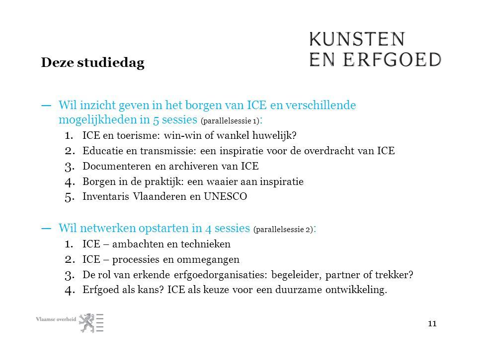 Deze studiedag — Wil inzicht geven in het borgen van ICE en verschillende mogelijkheden in 5 sessies (parallelsessie 1) : 1.