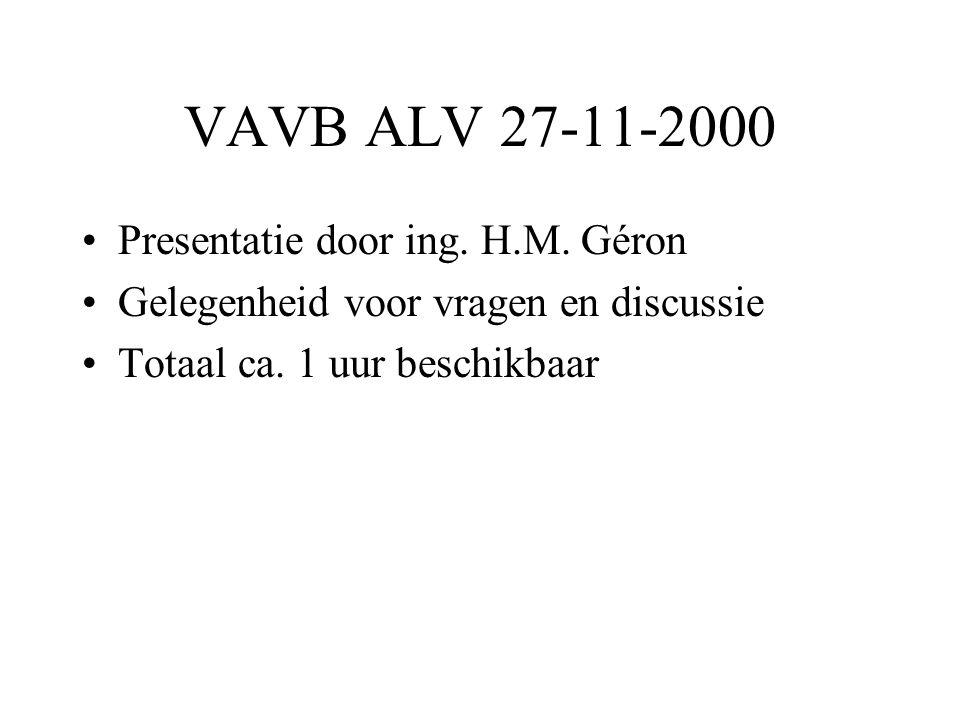 VAVB ALV 27-11-2000 •Presentatie door ing. H.M.