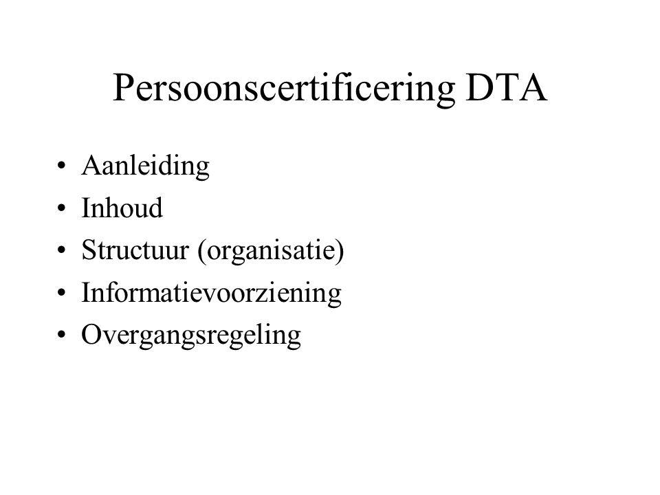 Persoonscertificering DTA •Aanleiding •Inhoud •Structuur (organisatie) •Informatievoorziening •Overgangsregeling