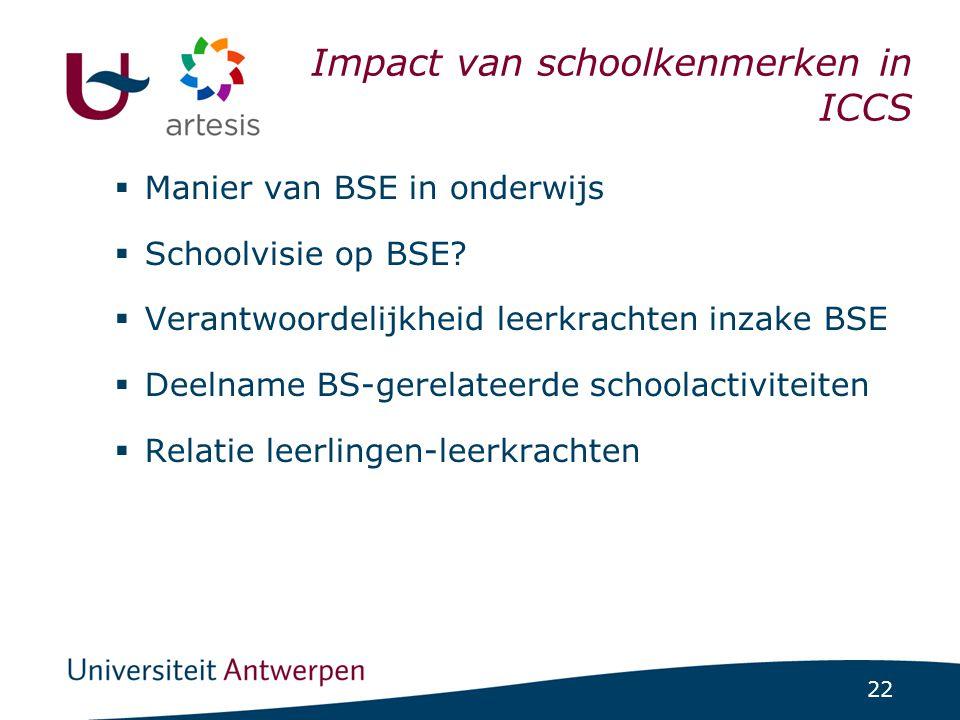 22 ICCS-project 1/07/2014 | pag. 22 Impact van schoolkenmerken in ICCS  Manier van BSE in onderwijs  Schoolvisie op BSE?  Verantwoordelijkheid leer