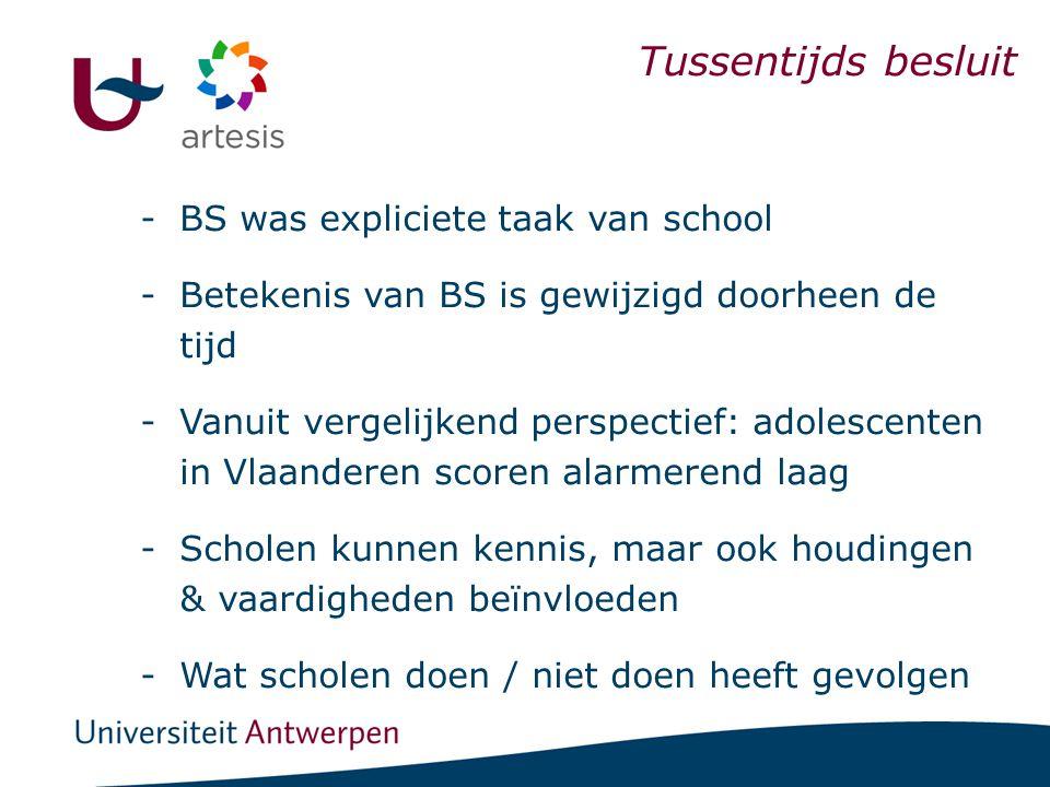 I. Scholen & BSE Tussentijds besluit -BS was expliciete taak van school -Betekenis van BS is gewijzigd doorheen de tijd -Vanuit vergelijkend perspecti