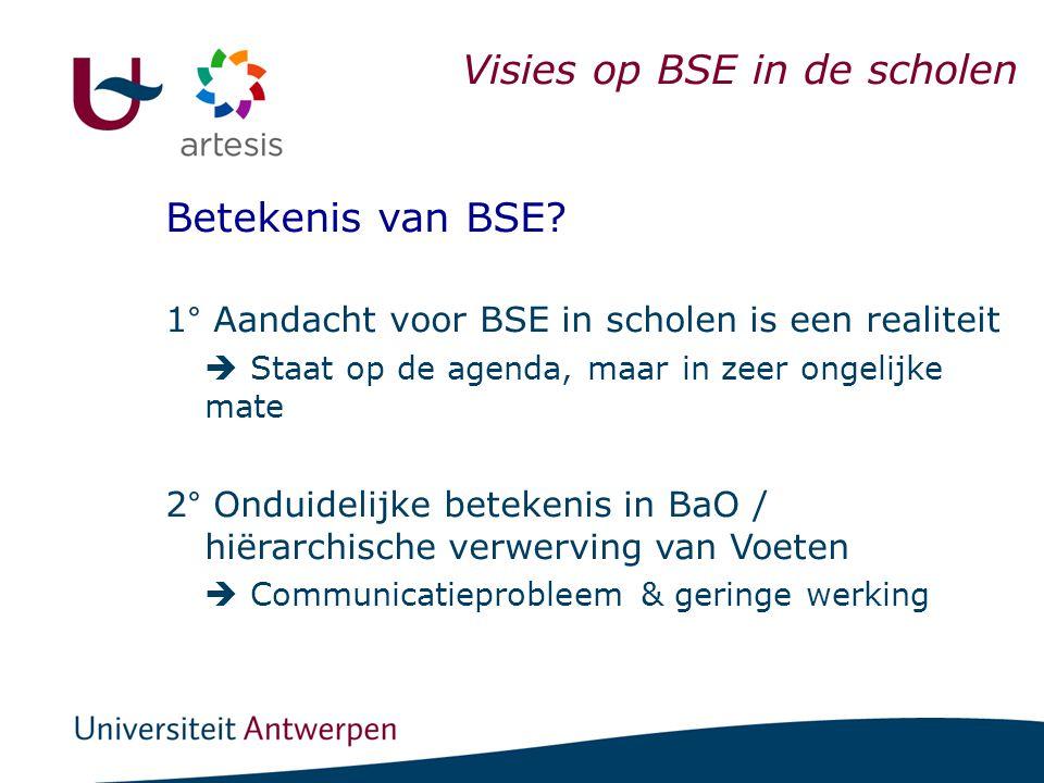 Visies op BSE in de scholen Betekenis van BSE? 1° Aandacht voor BSE in scholen is een realiteit  Staat op de agenda, maar in zeer ongelijke mate 2° O