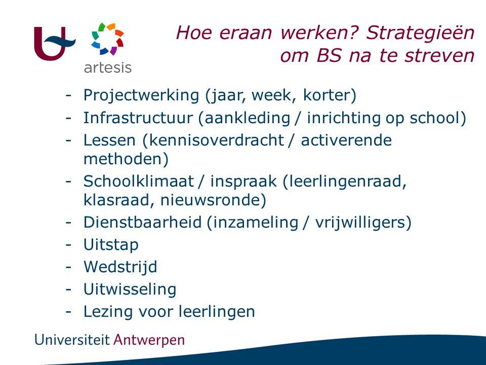 I. Scholen & BSE -Projectwerking (jaar, week, korter) -Infrastructuur (aankleding / inrichting op school) -Lessen (kennisoverdracht / activerende meth