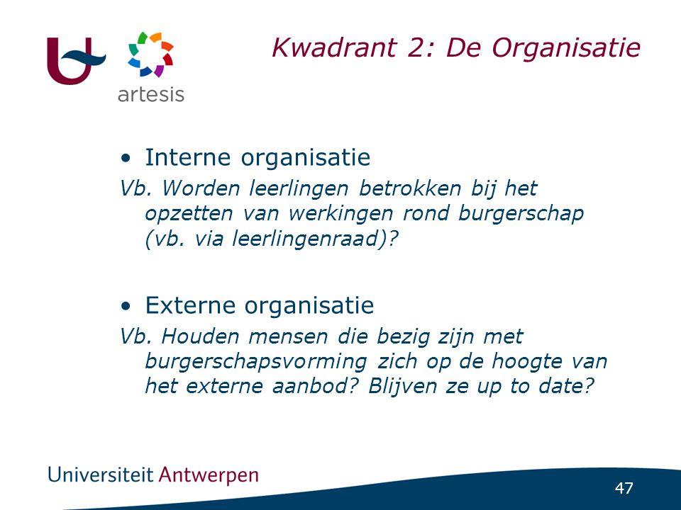 47 Kwadrant 2: De Organisatie •Interne organisatie Vb. Worden leerlingen betrokken bij het opzetten van werkingen rond burgerschap (vb. via leerlingen