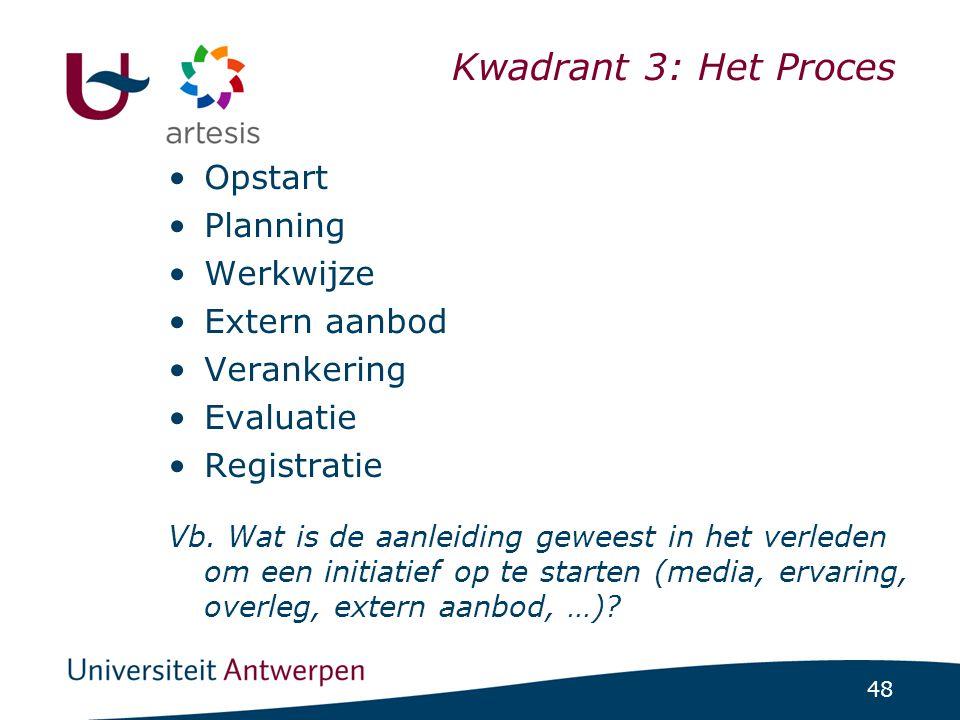 48 Kwadrant 3: Het Proces •Opstart •Planning •Werkwijze •Extern aanbod •Verankering •Evaluatie •Registratie Vb. Wat is de aanleiding geweest in het ve