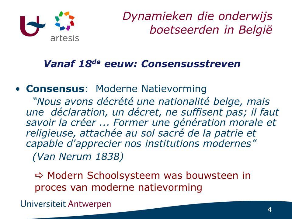 """4 Dynamieken die onderwijs boetseerden in België •Consensus: Moderne Natievorming """"Nous avons décrété une nationalité belge, mais une déclaration, un"""
