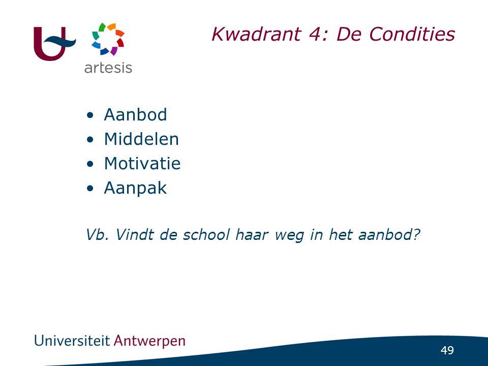 49 Kwadrant 4: De Condities •Aanbod •Middelen •Motivatie •Aanpak Vb. Vindt de school haar weg in het aanbod?