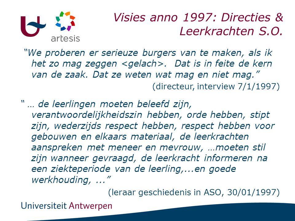 """I. Scholen & BSE Visies anno 1997: Directies & Leerkrachten S.O. """"We proberen er serieuze burgers van te maken, als ik het zo mag zeggen. Dat is in fe"""