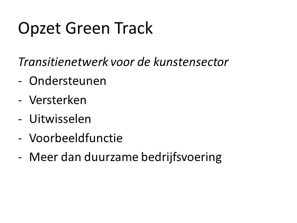 Opzet Green Track Transitienetwerk voor de kunstensector -Ondersteunen -Versterken -Uitwisselen -Voorbeeldfunctie -Meer dan duurzame bedrijfsvoering
