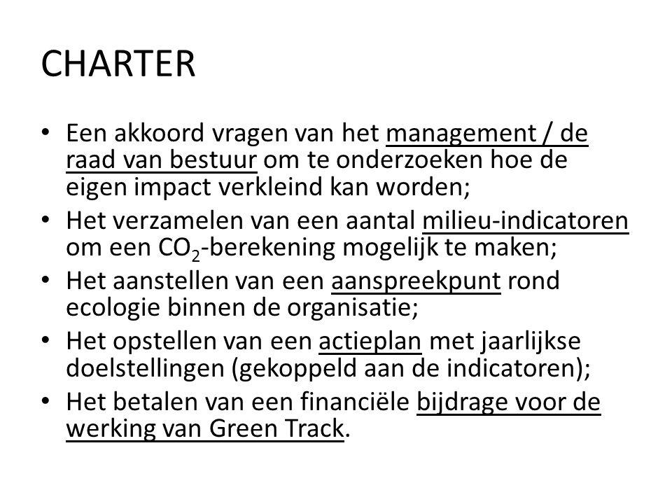 CHARTER • Een akkoord vragen van het management / de raad van bestuur om te onderzoeken hoe de eigen impact verkleind kan worden; • Het verzamelen van