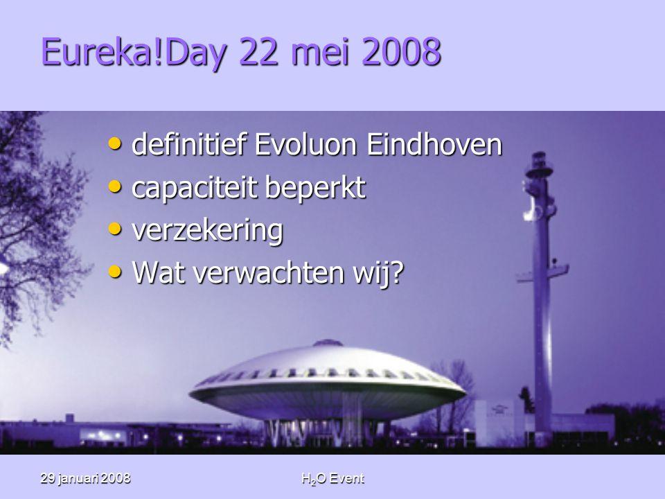 29 januari 2008H 2 O Event Eureka!Day 22 mei 2008 • definitief Evoluon Eindhoven • capaciteit beperkt • verzekering • Wat verwachten wij?