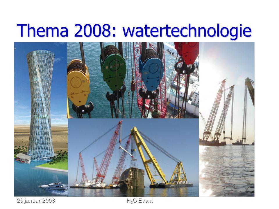 29 januari 2008H 2 O Event De bedrijven • Royal Haskoning • Ministerie van Verkeer en Waterstaat en Unie van Waterschappen • SMIT Internationale • Strukton WorkSphere • DHV • Wetsus