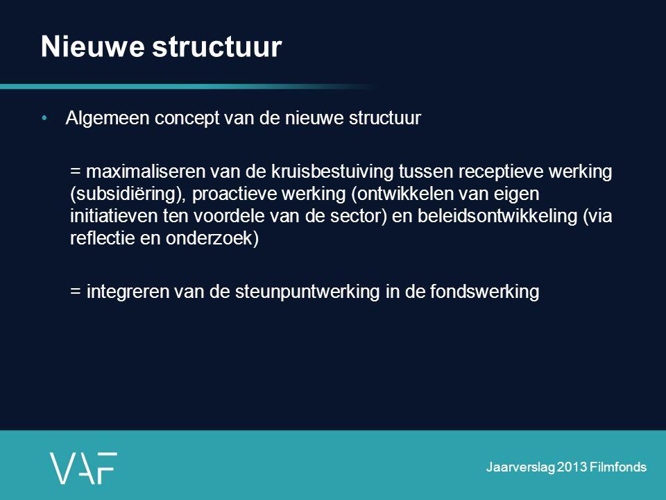 •Algemeen concept van de nieuwe structuur = maximaliseren van de kruisbestuiving tussen receptieve werking (subsidiëring), proactieve werking (ontwikk