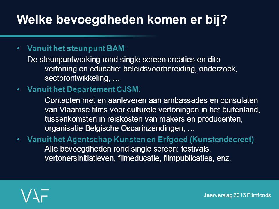 Welke bevoegdheden komen er bij? •Vanuit het steunpunt BAM: De steunpuntwerking rond single screen creaties en dito vertoning en educatie: beleidsvoor
