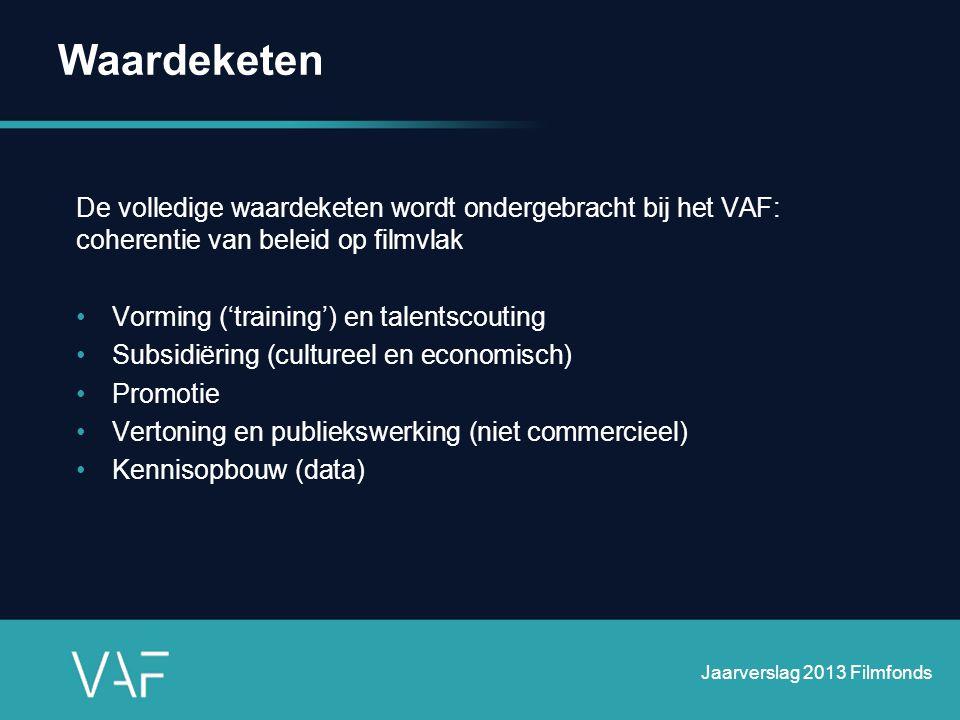 De volledige waardeketen wordt ondergebracht bij het VAF: coherentie van beleid op filmvlak •Vorming ('training') en talentscouting •Subsidiëring (cul