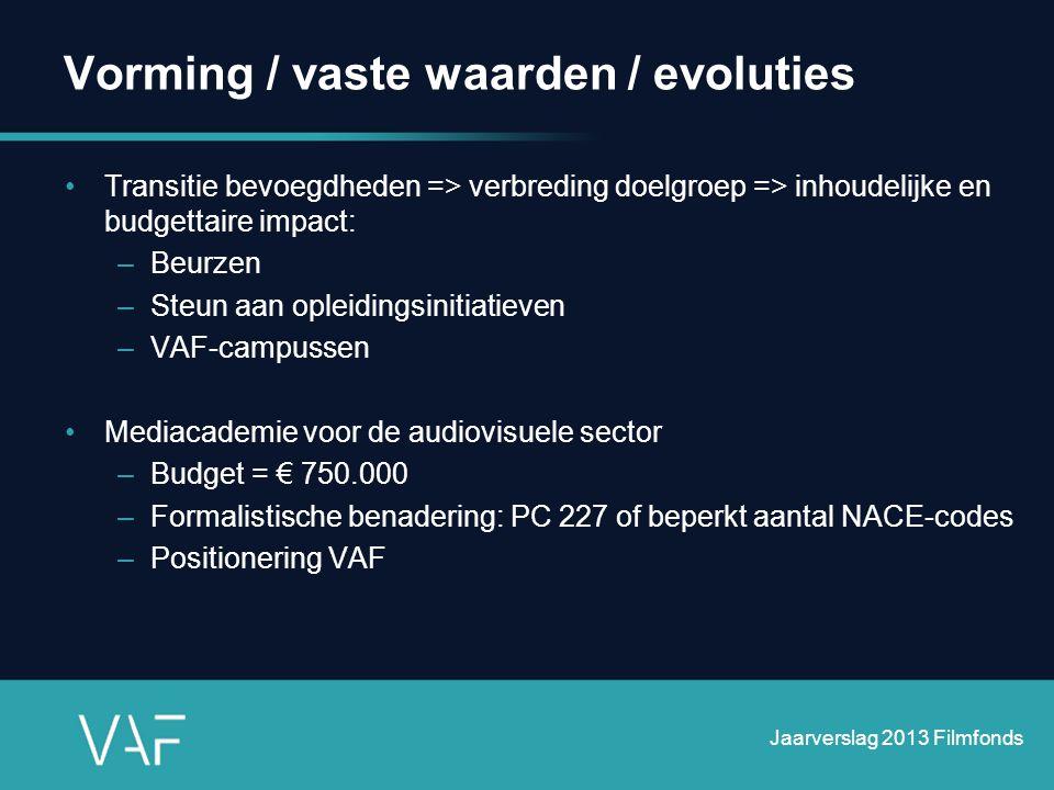 Vorming / vaste waarden / evoluties •Transitie bevoegdheden => verbreding doelgroep => inhoudelijke en budgettaire impact: –Beurzen –Steun aan opleidi